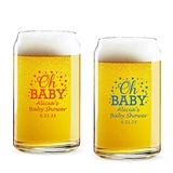 Personalized 'Oh Baby' Confetti Dots Design 16oz Beer Can-Shaped Glass