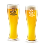 Personalized 'Oh Baby' Confetti Dots Design 16oz Pilsner Beer Glass