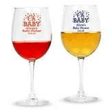 "Personalized ""Oh Baby"" Design Stemmed 12oz Wine Glasses"