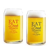 Personalized 'Eat Drink & Celebrate' Design 16oz Beer Can-Shaped Glass