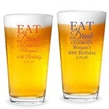 "Personalized ""Eat Drink & Celebrate"" Design 16oz Pint Glass"