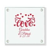 Personalized Love Hearts Design Glass Coaster (18 Ink Colors)