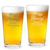 "Personalized ""Sip Sip Hooray"" Design 16 ounce Pint Glass"