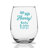 Personalized 15oz 'Sip Sip Hooray' Design Stemless Wine Glasses