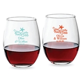 Personalized 9oz 'You Me & the Sea' Starfish Motif Stemless Wine Glass