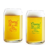 Personalized 'Cheers to the New Mr & Mrs' 16oz Beer Can-Shaped Glass