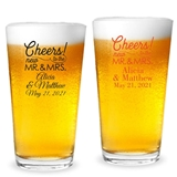 Personalized 'Cheers to the New Mr. & Mrs.' Design 16oz Pint Glasses