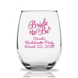 "Personalized 9oz ""Bride to Be"" Design Stemless Wine Glasses"