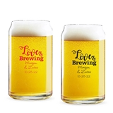 Personalized 'Love is Brewing' Design 16oz Beer Can-Shaped Glass