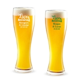 Personalized 'Love is Brewing' Design 16 ounce Pilsner Beer Glass