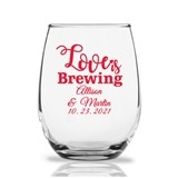 "Personalized 9oz ""Love is Brewing"" Stemless Wine Glasses"