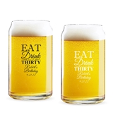 Personalized 'Eat Drink & Be # Years' Birthday Favor Can-Shaped Glass