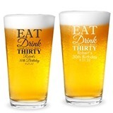 Personalized 'Eat Drink & Be # Years' Milestone Birthday Pint Glass