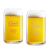 Personalized 'Cheers! to # Years' Milestone Birthday Can-Shaped Glass