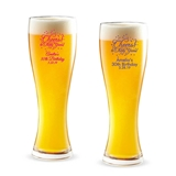 Personalized ''Cheers! to # Years' Design 16 ounce Pilsner Beer Glass