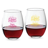 Personalized 9 oz 'Cheers! to # Years!' Birthday Stemless Wine Glasses