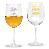 Personalized 'Cheers! to # of Years' Design Stemmed 12oz Wine Glasses
