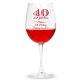 Personalized '[Age] and Fabulous' Design Stemmed 12oz Wine Glasses