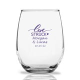 Personalized 15oz Script 'Love Struck' Design Stemless Wine Glass