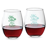 Personalized 15oz Script 'Mrs & Mrs' Design Stemless Wine Glasses