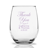 Personalized 15oz Script 'Thank You' Design Stemless Wine Glass