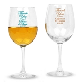 Personalized Script 'Thank You' Design Stemmed 12oz Wine Glasses