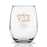 Personalized 15oz Anchored in Love Cursive Design Stemless Wine Glass