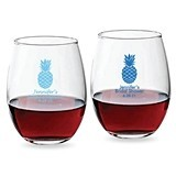 Personalized Welcoming Pineapple Design 9 ounce Stemless Wine Glasses