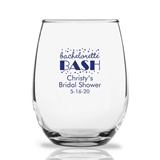 Personalized 15oz Script Bachelorette Bash Design Stemless Wine Glass
