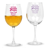Personalized 'So the Adventure Begins' Design Stemmed 12oz Wine Glass