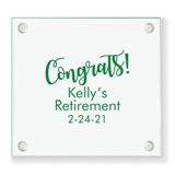 "Personalized ""Congrats!"" Design Square Glass Coasters"
