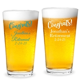 "Personalized ""Congrats!"" Design 16oz Pint Glasses"