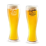 "Personalized ""Congrats!"" Design 16 ounce Pilsner Beer Glass"