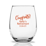 "Personalized 15oz ""Congrats!"" Design Stemless Wine Glasses"