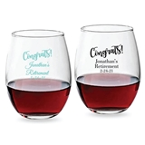 "Personalized ""Congrats!"" Design 9 oz Stemless Wine Glasses"
