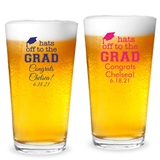 Personalized 'Hats Off to the Grad' Tassle Cap Design 16oz Pint Glass