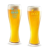 Personalized 'Hats Off to the Grad' Design 16 ounce Pilsner Beer Glass