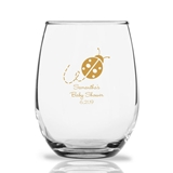 Personalized 15oz Adorable Lady Bug Design Stemless Wine Glasses
