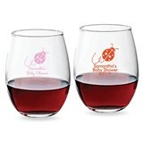Personalized 9 ounce Lady Bug Design Stemless Wine Glasses
