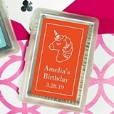 Deck of Playing Cards with Personalized Unicorn Design Sticker on Case