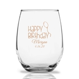 Personalized 15oz Happy Birthday Balloon Design Stemless Wine Glasses