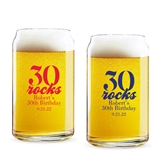 Personalized '30 Rocks' Birthday Design 16oz Beer Can-Shaped Glass