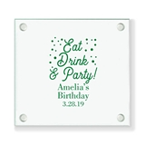 Personalized 'Eat Drink & Party' Design Square Glass Coasters