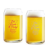 Personalized 'Eat Drink & Party' Design 16oz Beer Can-Shaped Glass