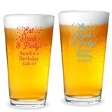 "Personalized ""Eat Drink & Party"" Design 16oz Pint Glass"