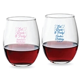 Personalized 'Eat Drink & Party' Design 9 oz Stemless Wine Glasses