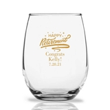Personalized 15oz 'Happy Retirement' Design Stemless Wine Glasses