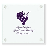 Personalized Grapevine & Wine Grapes Design Square Glass Coasters