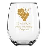 Personalized 9 oz Grapevine & Wine Grapes Design Stemless Wine Glasses
