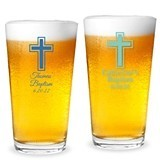 Personalized Simple Cross Design 16 ounce Pint Glasses